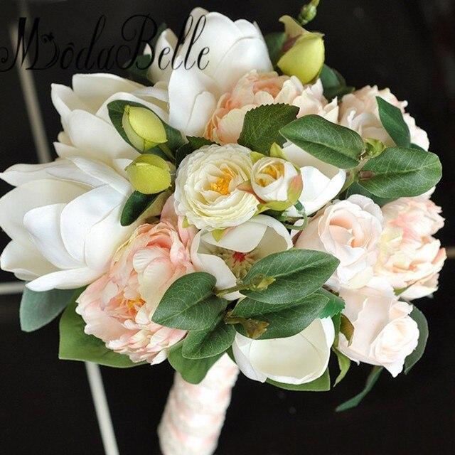 Modabelle Pivoines Magnolia Mariee Fleur Bouquet De Mariage Pas Cher