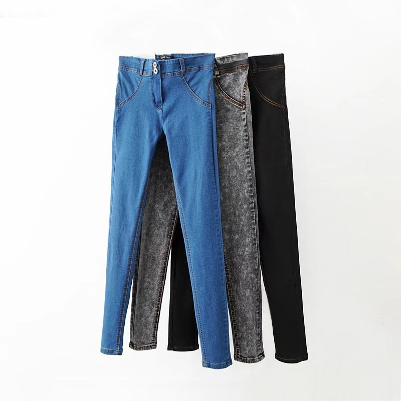 Women Pencil Jeans Mid Waist Jeans Autumn Female Skinny Elastic Jeans Lady Casual Vintage Denim Pants Slim Trousers spring free shipping women s skinny pants jeans female jeans belt clothing pencil pants elastic women s trend