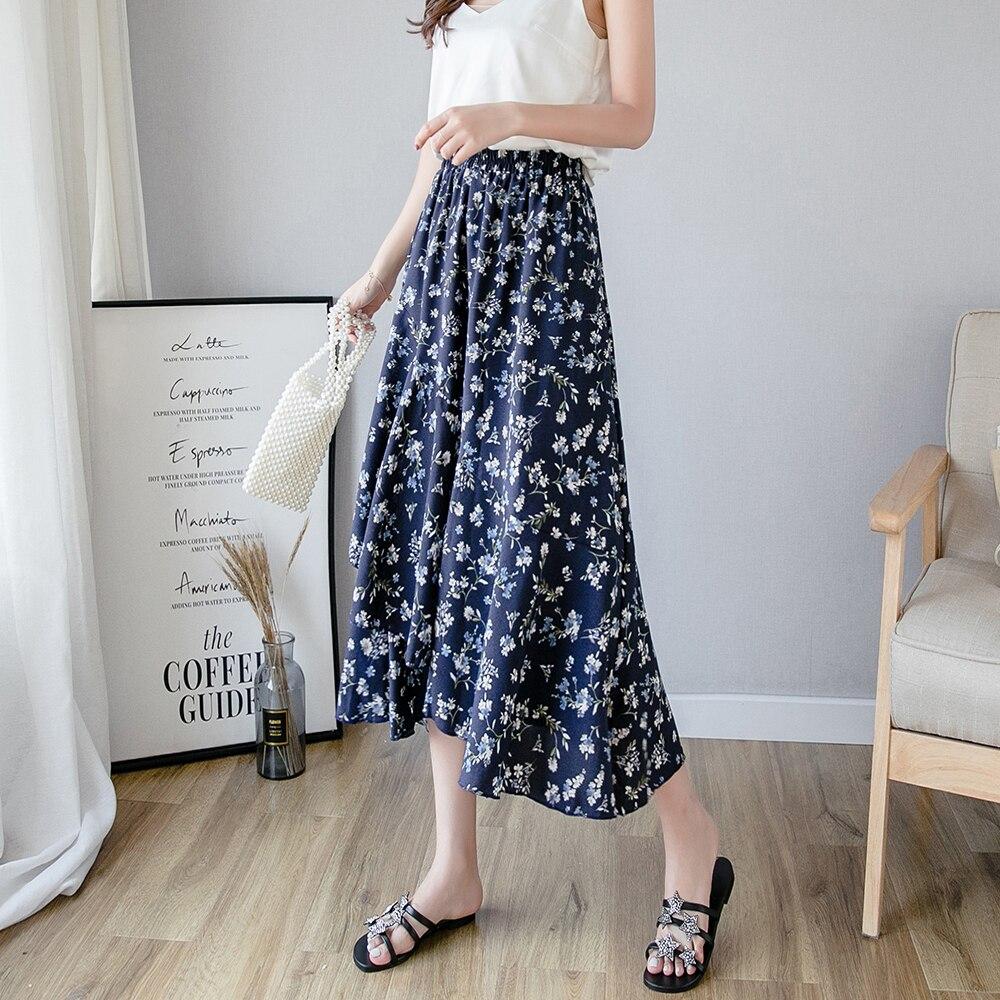 Floral Print Boho Summer Holiday Elastic Waist Layered Ruffle Skirt Women Skirts 2019 Beach Wear Mid Waist Casual Skirts in Skirts from Women 39 s Clothing