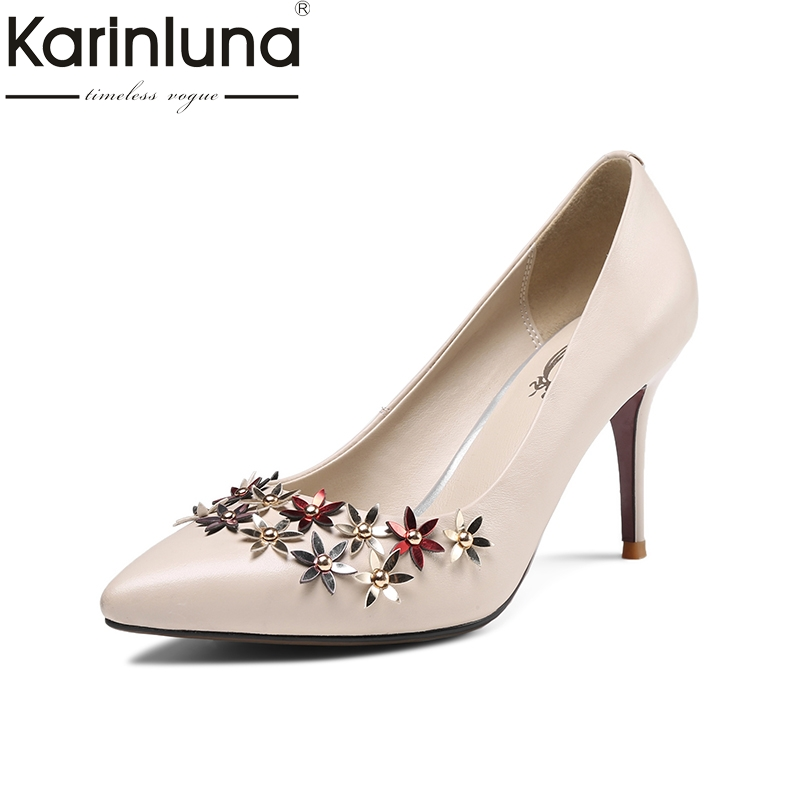 Karinluna 2018 Spring Autumn Elegant Genuine Leather Women Flower Pumps Fashion Lady Ol High Heels Shallow Shoes Woman siketu 2017 free shipping spring and autumn women shoes fashion sex high heels shoes red wedding shoes pumps g107