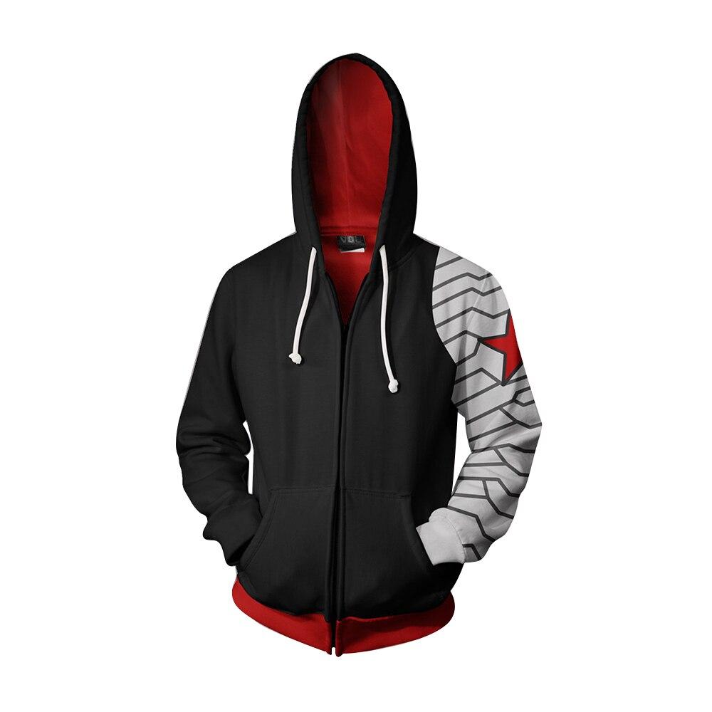 Captain America: The Winter Soldier Hoodies Bucky Barnes 3D Printed Sweatshirts Men Adults Zip Up Hooded Jacket Coat