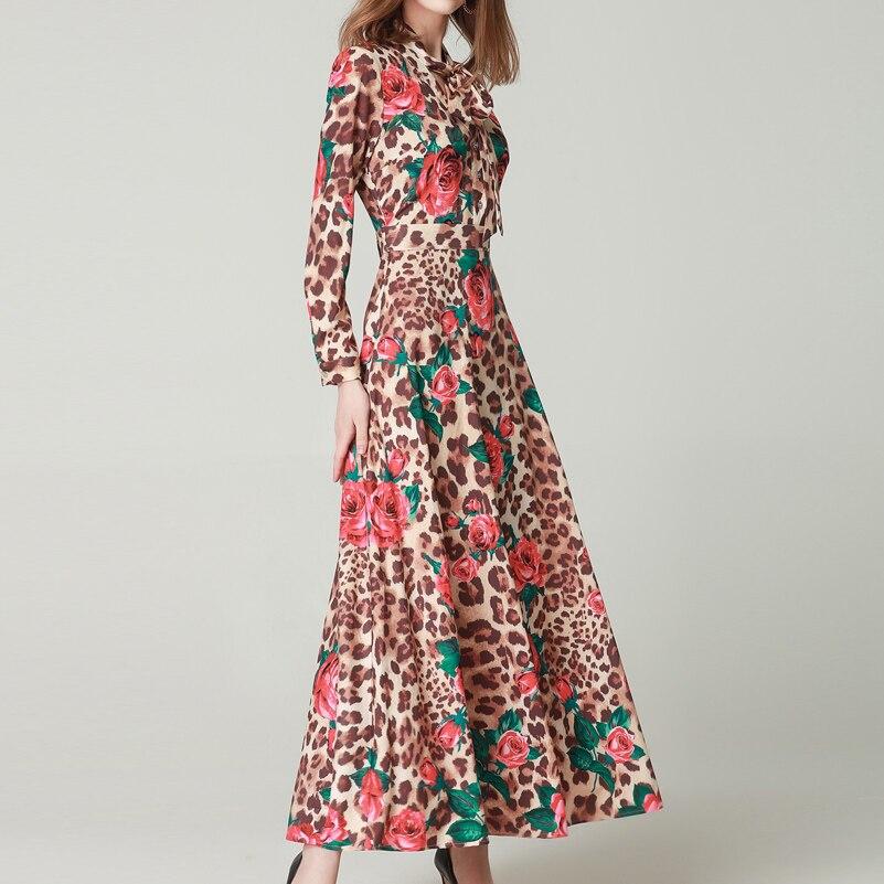 Hohe qualität Frühjahr/Sommer Fashion Runway Maxi kleid frauen Langarm Bogen Kragen Rose Leopard Print Vintage schlank lange kleid-in Kleider aus Damenbekleidung bei  Gruppe 3