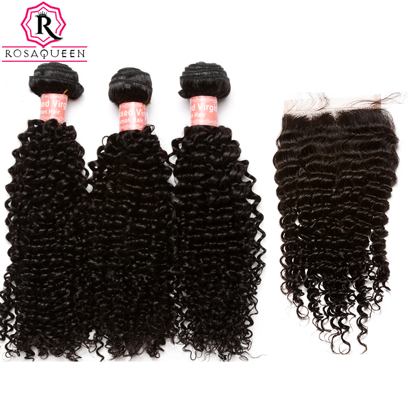 Brazilian Kinky Curly Bundles With Closure 4 Pcs 3 Hair Weave Bundles With Closure Human Remy Hair Extension Rosa Queen Products