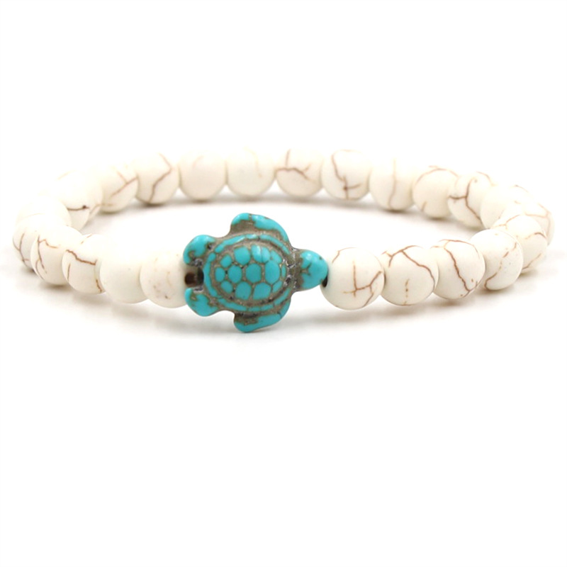 Fashion Style Turtle Bead Bracelet Women Men Classic 8 Color Natural Stone Elasticity Friendship Bracelet Beach Jewelry