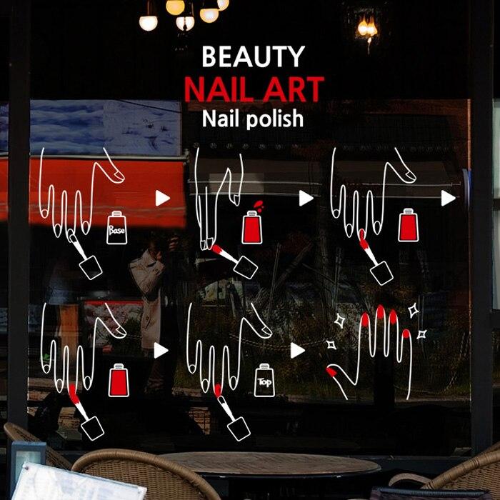 2018 mode Nail Art vinyle mur décalcomanie main vernis à ongles cosmétiques autocollants ongle Salon mur autocollant ongles Bar verre décoration