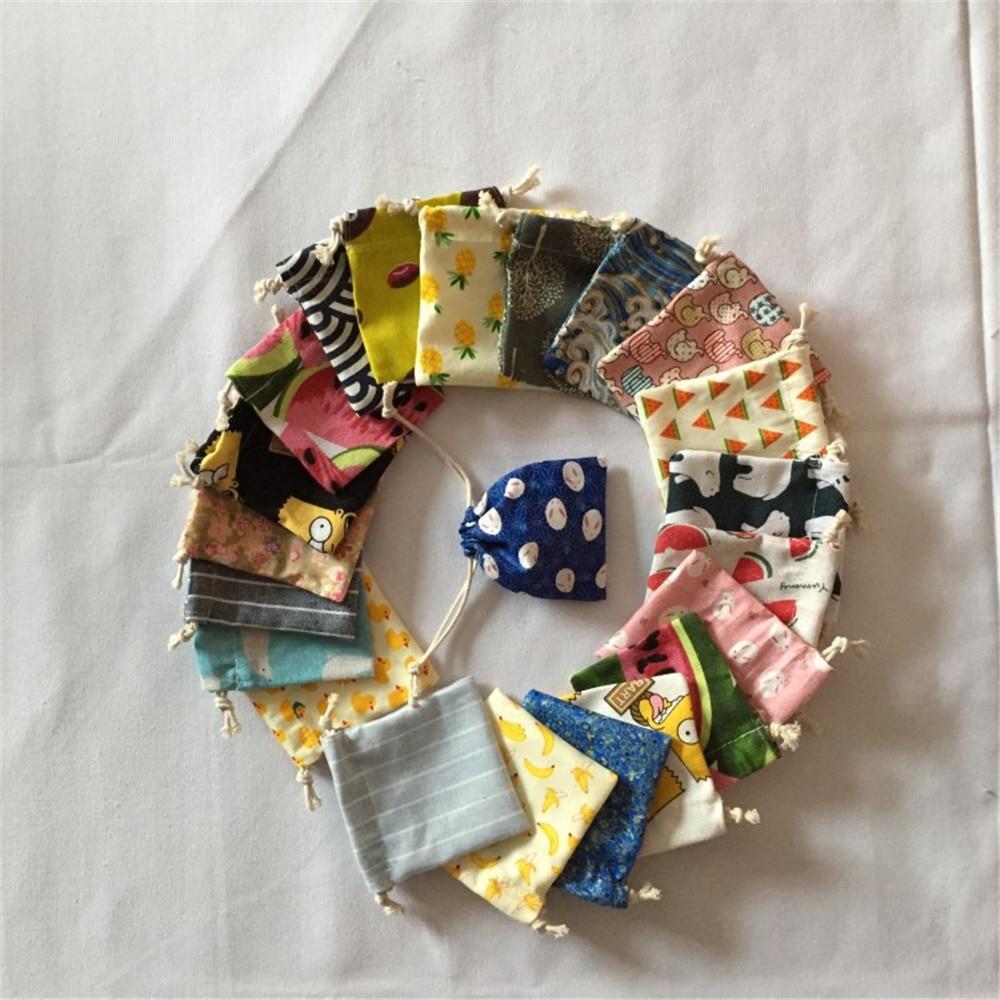Multi-color Different Design Drawstring Cotton Mini Bag Small Party Gift Pouch Sent Randomly