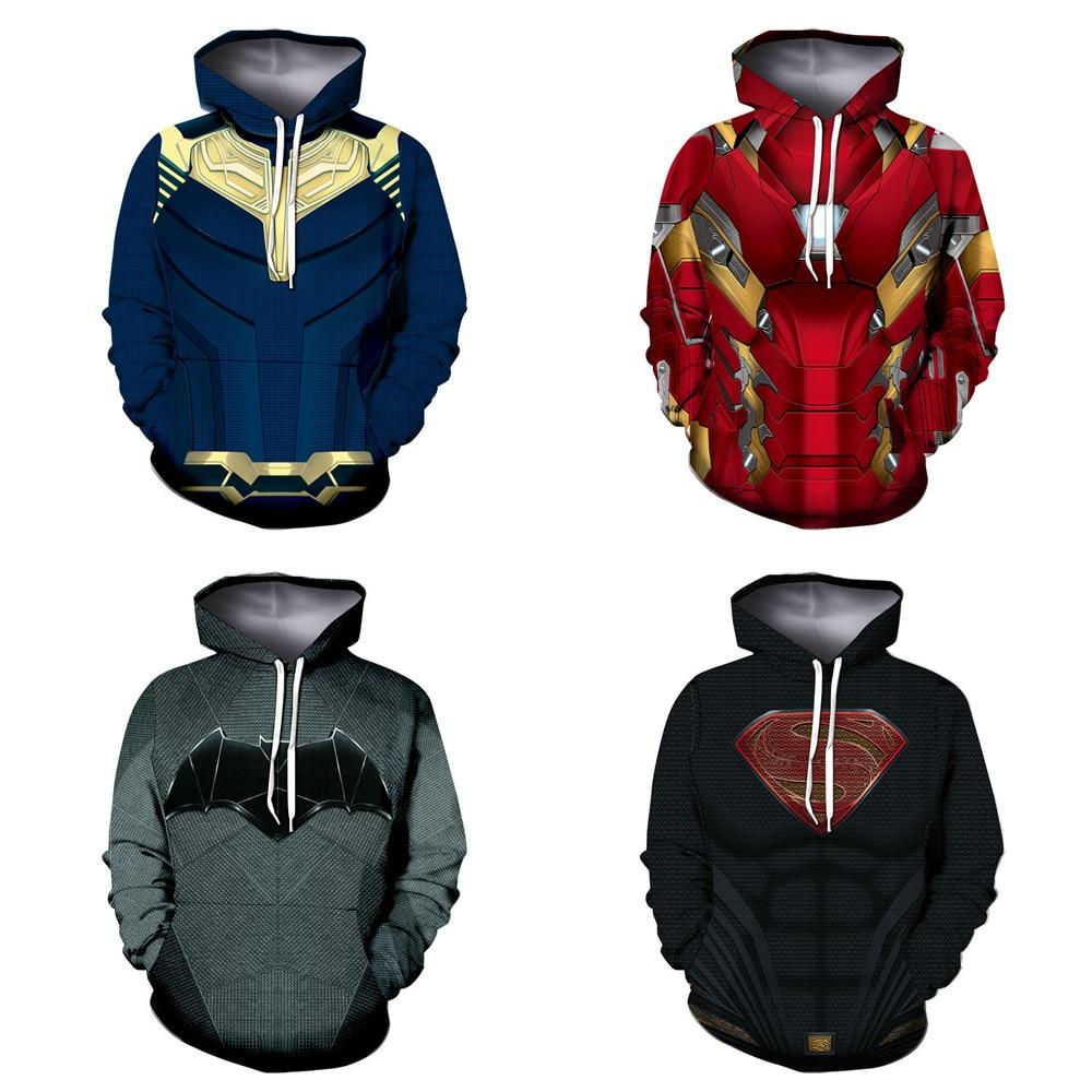 batman 3D Hoodies Women/Men The street style is baseball Hooded Sweatshirt Tracksuit Cosplay Anime Superhero Iron man Costumes