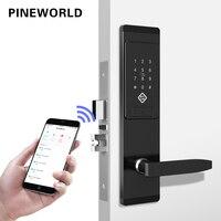 PINEWORLD безопасности электронный дверной замок, приложение wifi умный сенсорный экран замок, цифровой код клавиатуры Deadbolt для дома отель кварти