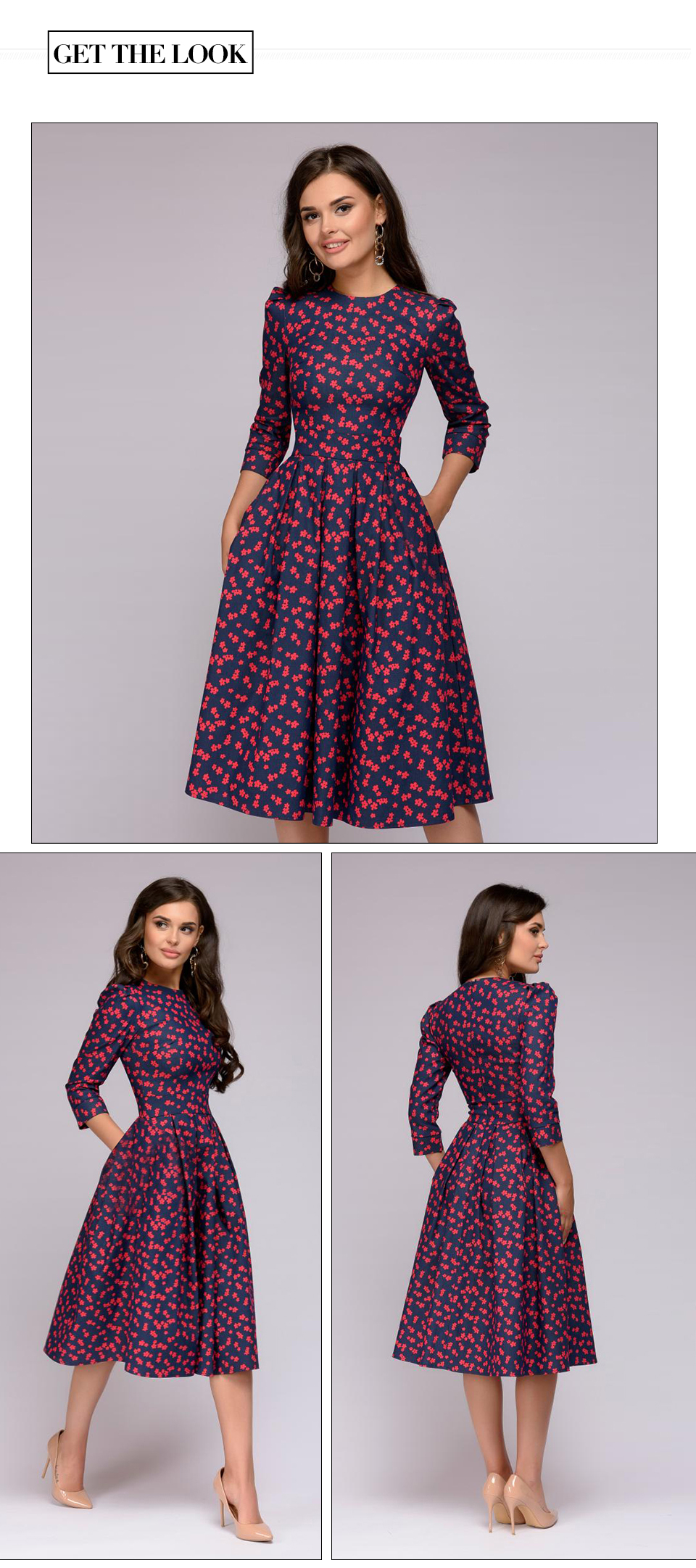 Vintage Three Quarter Sleeve A-line Print Floral Dress