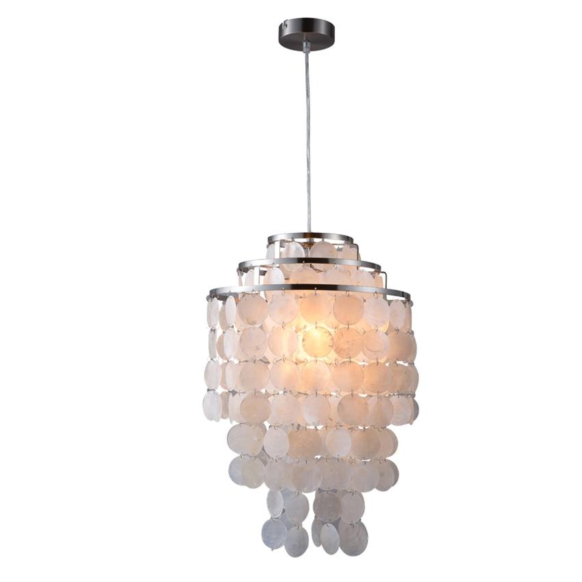 Modern White 3 Circle DIY Natural Seashell Dining & Bar Pendant Lights Fixture E27 Lights Dia 35cm Shell Lamps for Living Room