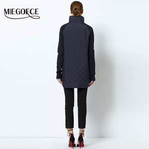 Image 4 - MIEGOFCE 2019 Spring Autumn Women Jacket With a Collar Knitted Sleeve Warm Jacket New Collection of Designer Womens Parka Coat