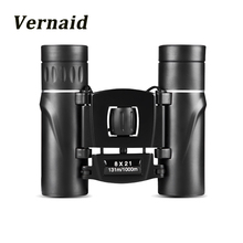 check price 8x21 Compact Zoom Binoculars Long Range Folding HD Powerful Mini Telescope Bak4 FMC Optics Hunting Sports Black Kids Telescope Sale Best Quality
