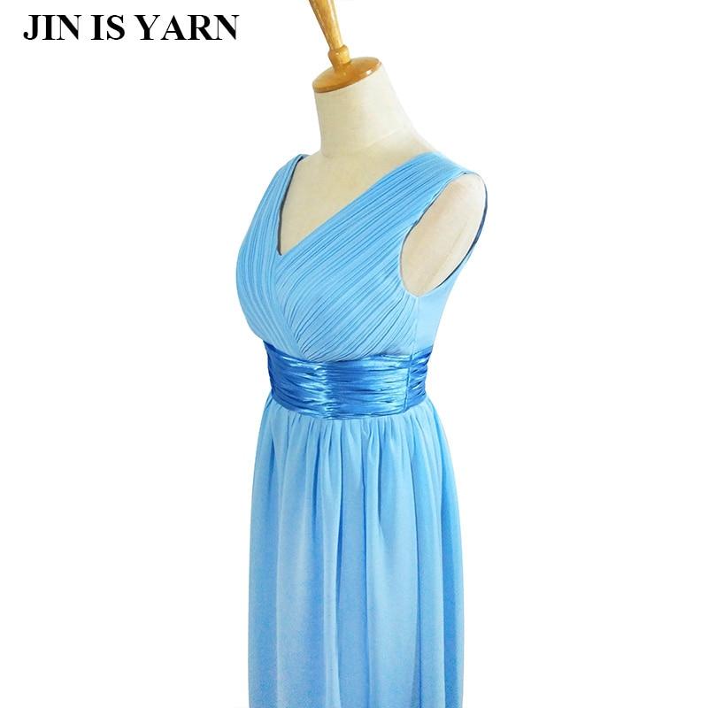 Новинка дважды плеча v-образным вырезом простой сплошной длинное вечернее платье шифон Вечеринка падение платье
