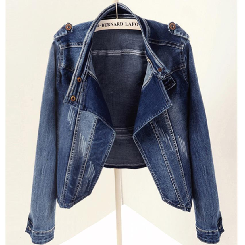 2019 printemps automne nouveau mode femmes stretch à manches longues veste en jean court paragraphe moto jeans veste