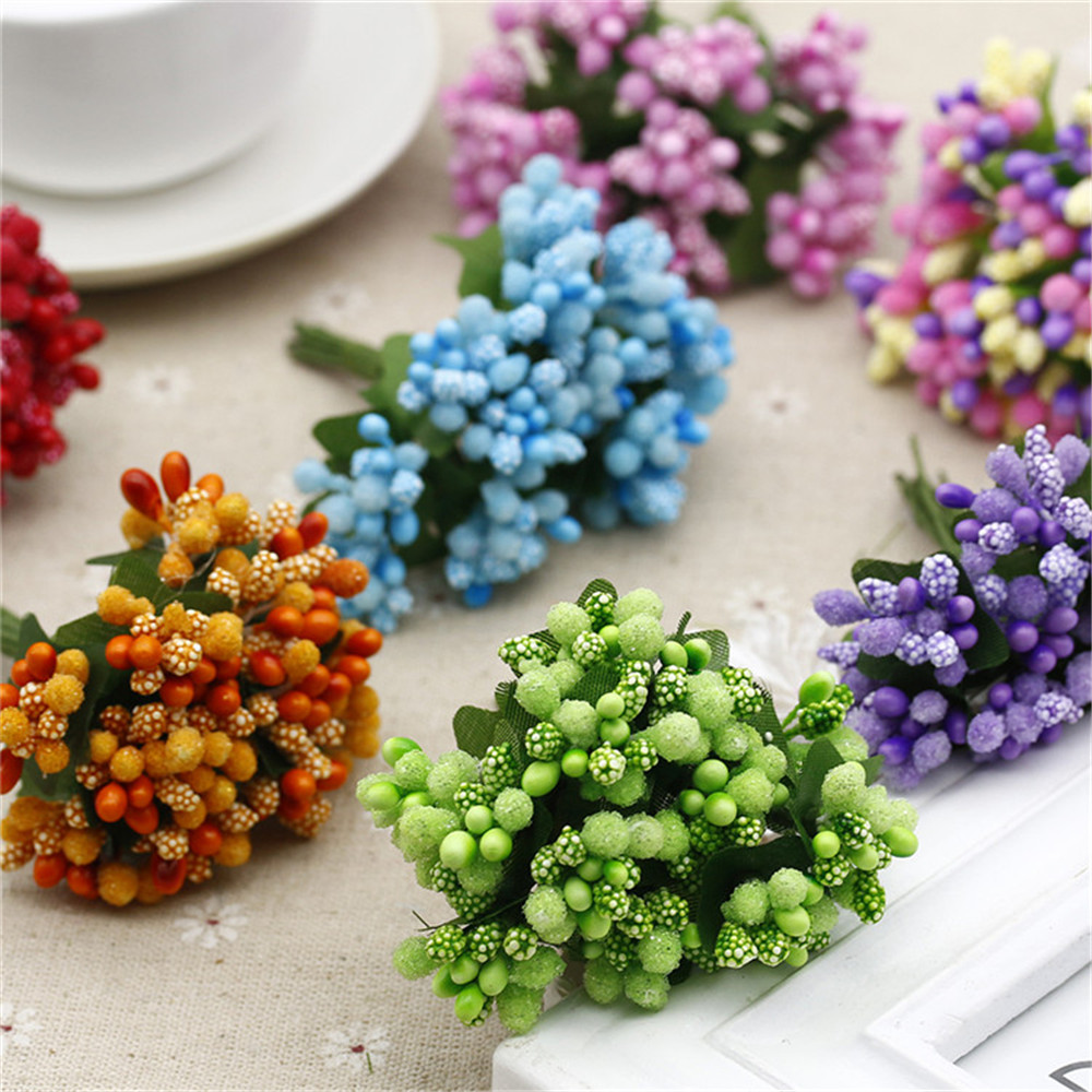 12PCS/lot  Artificial Flower Stamen Wire Stem/marriage Leaves Stamen DIY Wreath Wedding Box Decoration(China)
