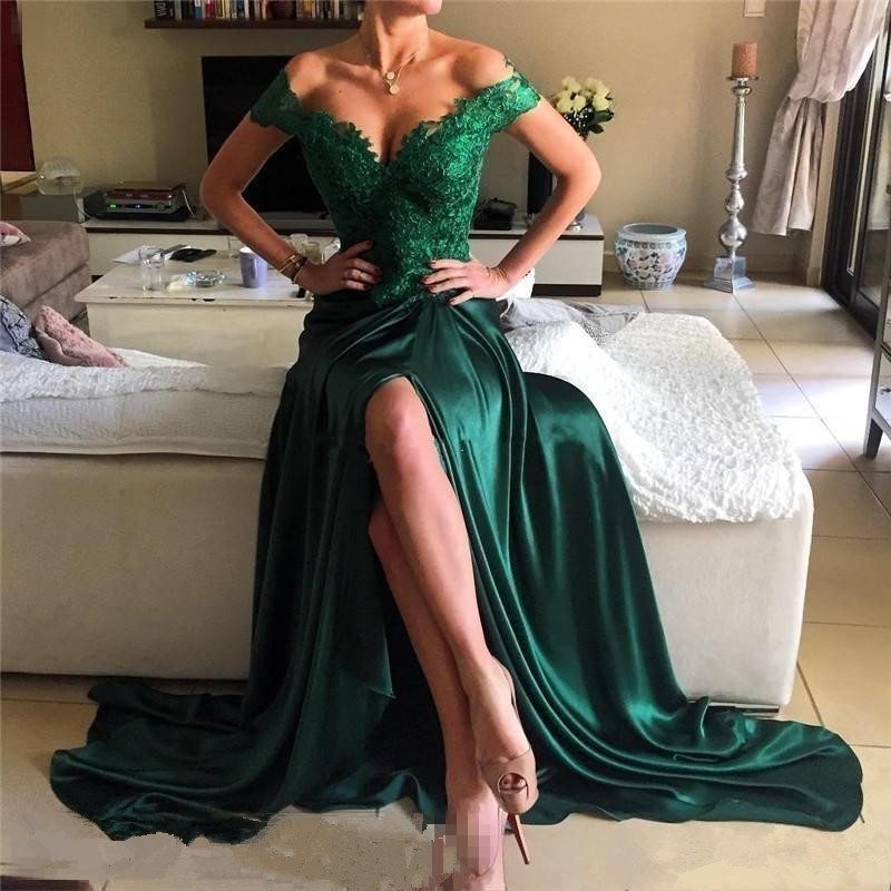 Off Shoulder Long   Prom     Dresses   with Slit Sweep Train Dark Green Applique Backless Evening Formal Party   Dress   Vestido De Fiesta