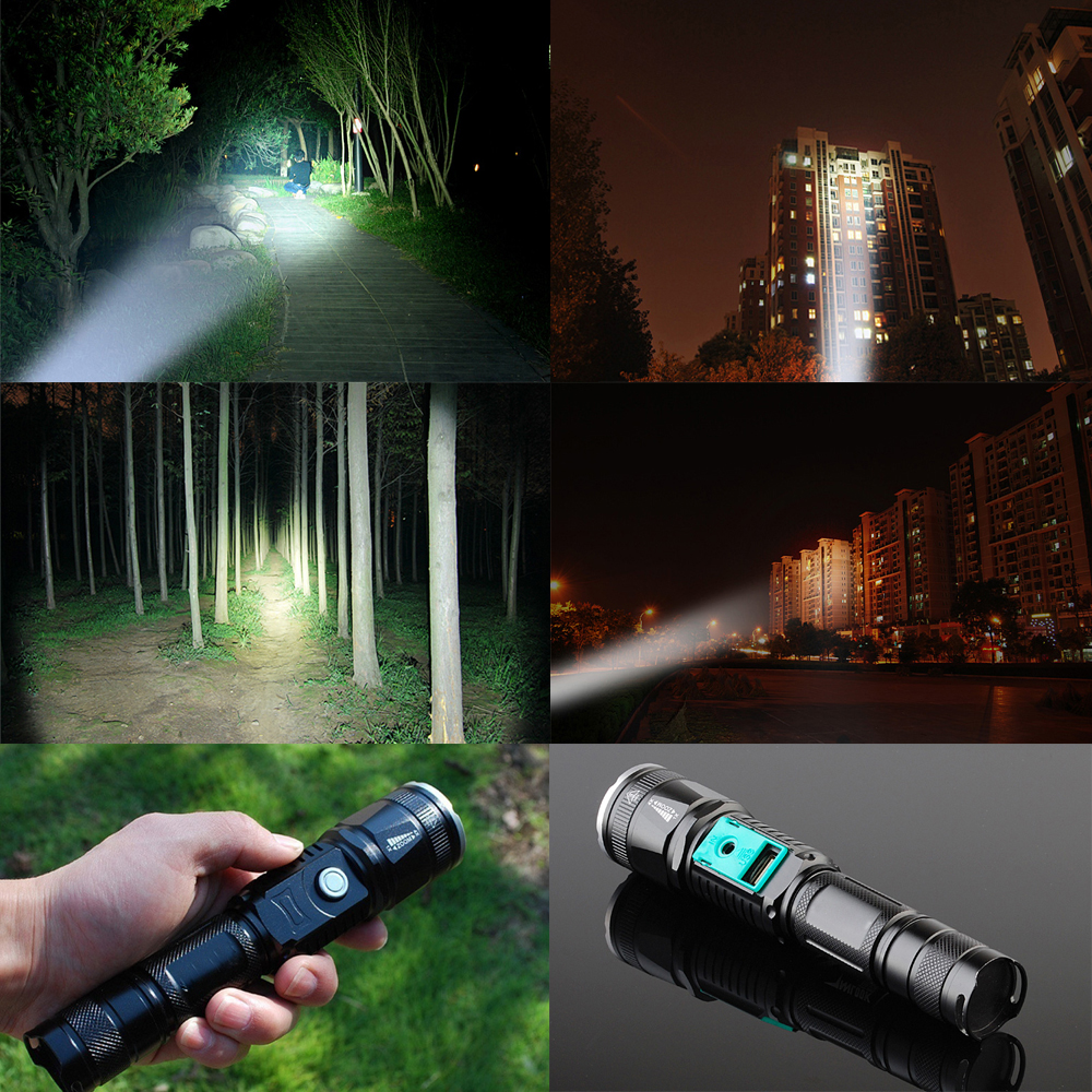 Купить с кэшбэком Powerful LED Flashlight Outdoor 5 lighting modes LED Torch Zoomable waterproof lamp by 18650 battery Used for camping, etc.