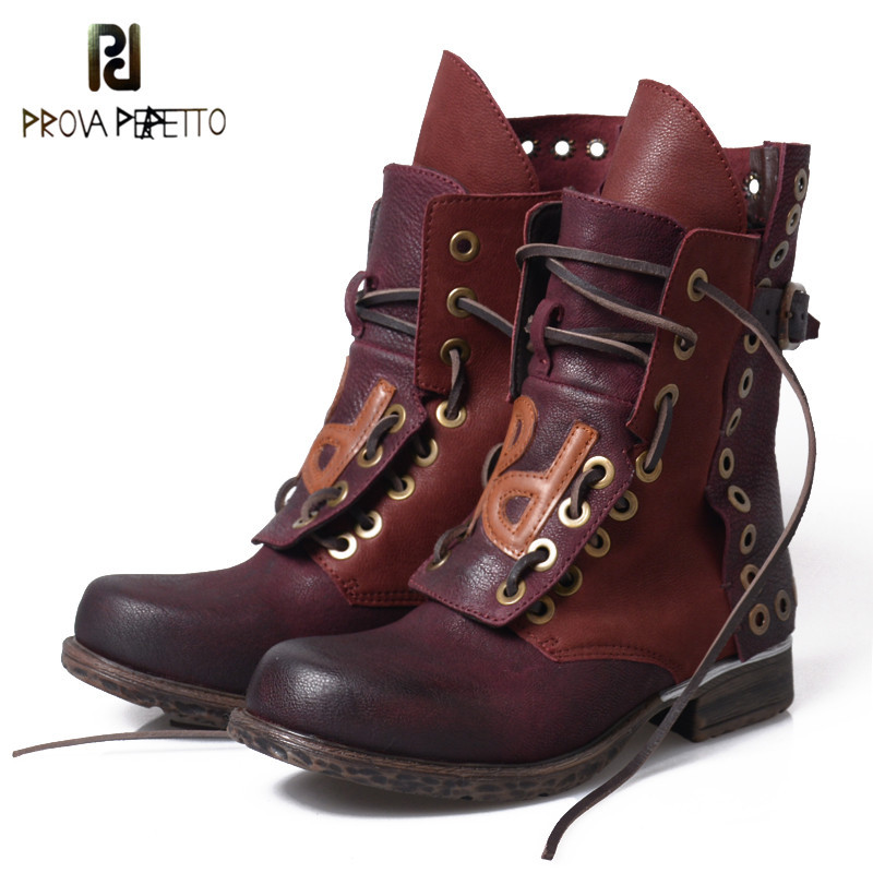 Prova Perfetto Lace Up Do Old Good Boots Women Motorcycle Shoe Rivets British Winter Retro Shoes