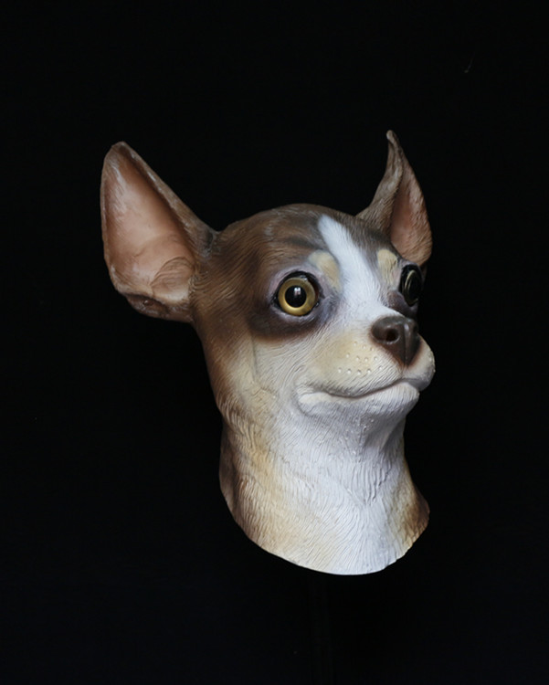 Deluxe Halloween Christmas New Year Carnival Animal Costume Accessory Latex Chihuahua Dog Mask