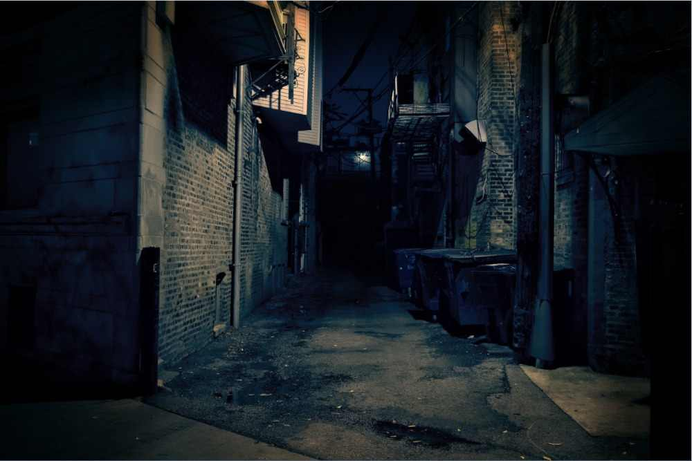 7x5ft Dark Night Street Alley Town House Moon Custom Photo