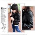Roupas das meninas do bebê roupas crianças Primavera outono rebite couro moda zipper-up criança outerwear crianças jaqueta blazers meninas