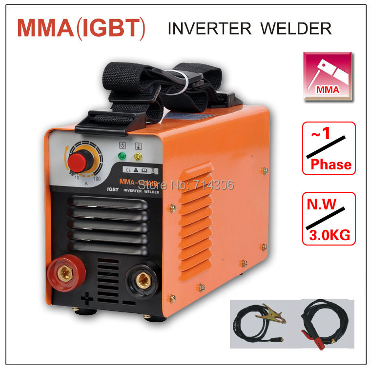 ZX7 MMA 100 IGBT small household   welding machine single phase AC220V ,protable inverter welder mma arc zx7 stick welder mini 220v 110v dual voltage protable 2 5kg 3 2mm electrode igbt inverter dc welding machine equipment tools with accessory