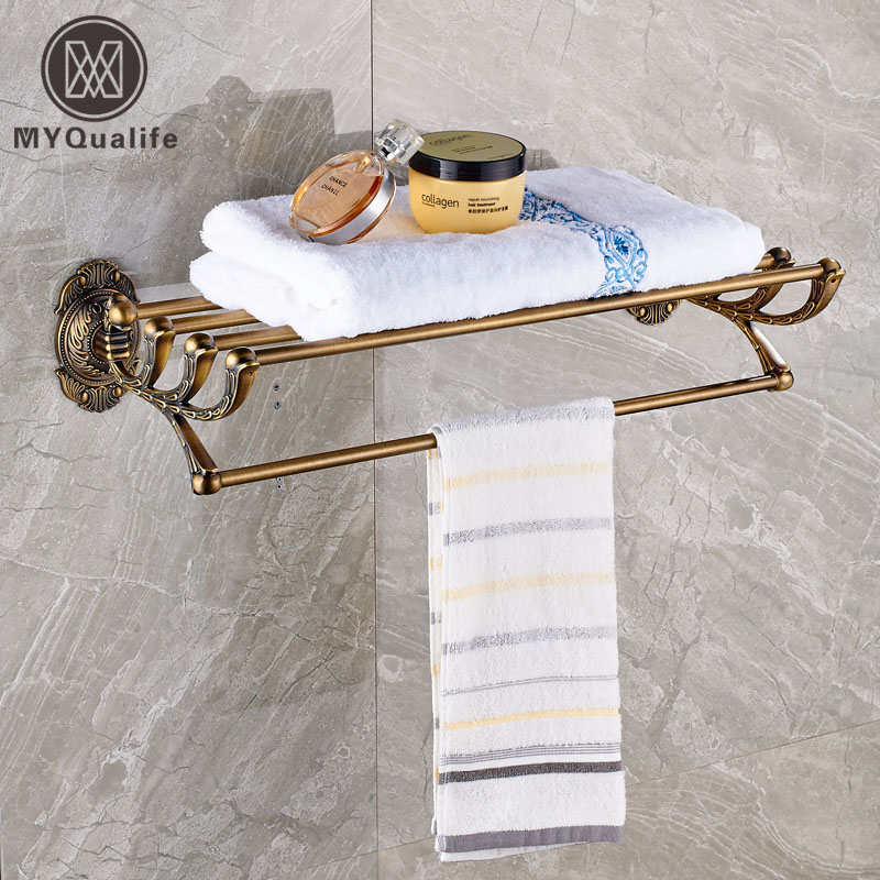 Artistic Wall Mounted Towel Shelf Bathroom Brass Antique Bath Towel Holder Towel Rack whole brass blackend antique ceramic bath towel rack bathroom towel shelf bathroom towel holder antique black double towel shelf