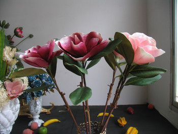 Заводские магазины] высокие ветви моделирования цветок магнолии опционально ультра-реалистичный чувствовать себя хорошо