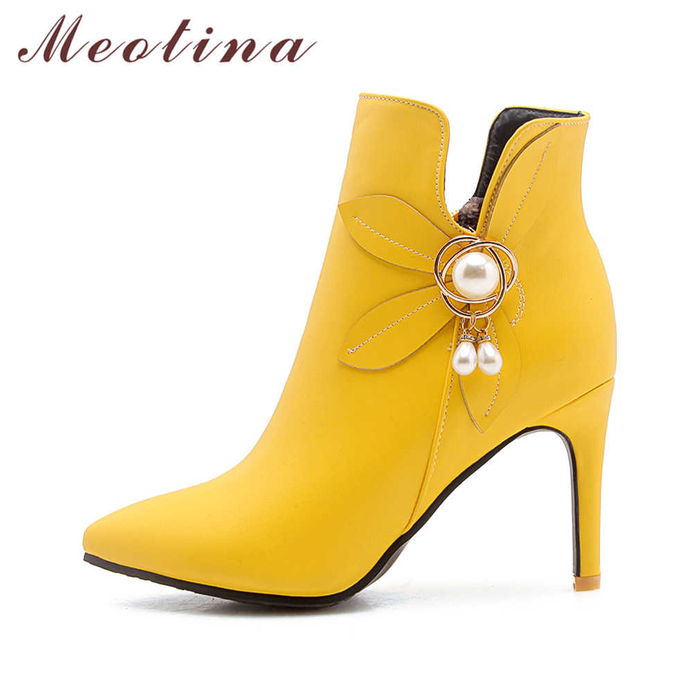 ... Meotina Women Boots Shoes Winter Flower High Heel Boots Rhinestone  Ankle Boots Zipper Yellow White Wedding ... ef35dfcaa495