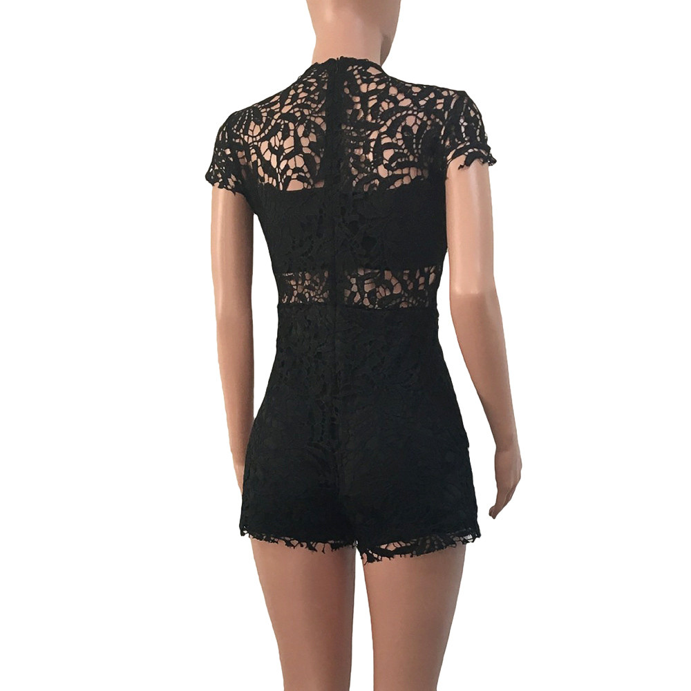 2018 NEW Women Sexy Lace Summer Ladies Shorts jumpsuit for feminino 2018 elegant plus size Mar27 w20d35