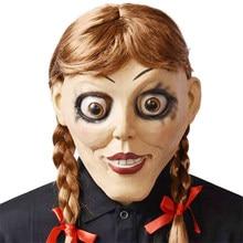 Film Annabelle Geliyor Ev Cosplay Maske Lateks Korkunç Ürpertici Bebek Tam Kafa Saç Yetişkin Cadılar Bayramı Kostümleri Prop Şapka