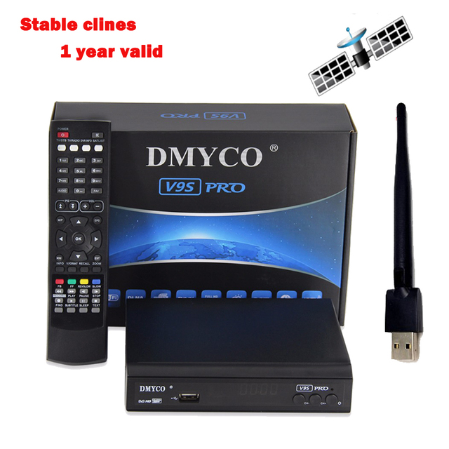 2018 Latest satelliter receiver V9S PRO Receptor DVB-S2 IP TV box full HD 1080p USB WIFI Antenna with 1 year Europe 7 Clines