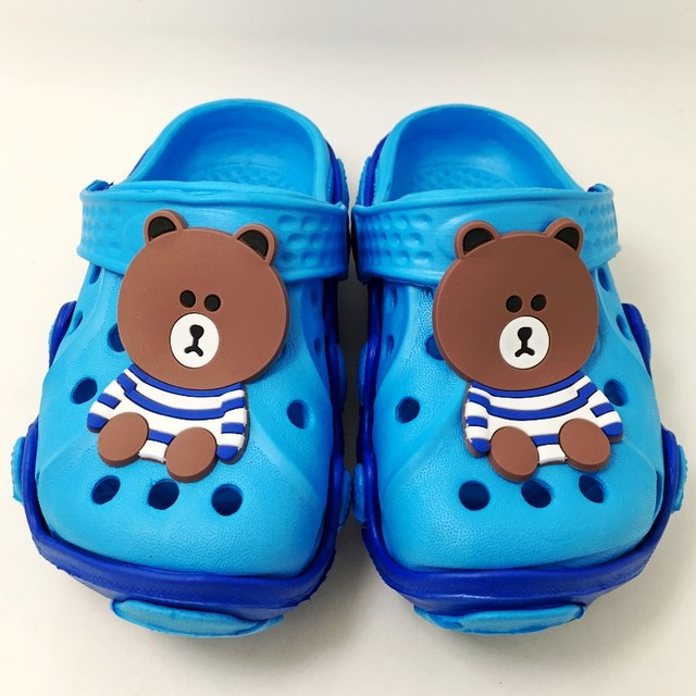 290d18704ca286 Children Boys Girls Garden Beach Clogs Cartoon Brown Bear Kids EVA Slip On  Sandals Slippers Shoes