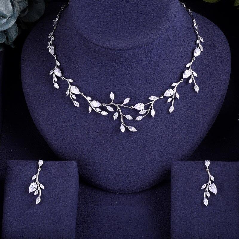 Earrings Jewelry-Sets Wedding-Necklace Janeklly Full-Cubic-Zirconia Pendientes Women Accessories