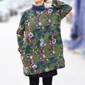 Mujeres Casual Impreso Floral Flojo Sudaderas Con Capucha Polar Caliente Camisas de Las Señoras de Invierno Suéteres de Manga Murciélago Más tamaño Desplumar