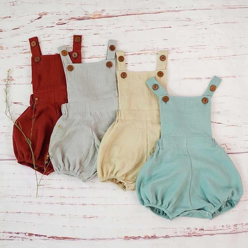 Хлопковый комбинезон для маленьких мальчиков, летний органический двойной марлевый мягкий Песочник, комбинезон для новорожденных, детские костюмы, удобные Roupa