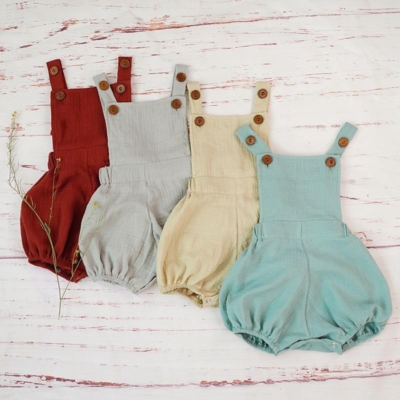 Хлопковый комбинезон для мальчиков, летний Мягкий комбинезон из органической газовой ткани для новорожденных, удобные костюмы для малышей