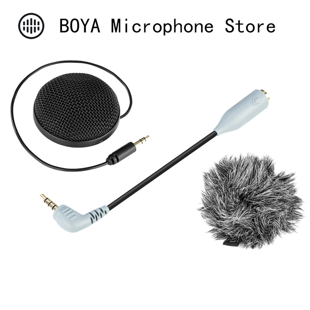BOYA BY-MM2 Stereo Microphone Omni-directional Condenser Mic for Canon Nikon Camera Camcorder Audio Recorder Smartphone Tablet