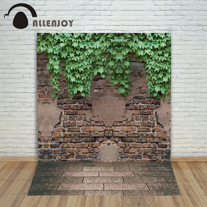 Allenjoy photographic background Leaves brick garden wall backdrops kids christmas vinyl summer 10x10ft allenjoy photographic background shovel excavators construction crane car kids backdrops send rolled camera fotografica wall