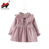 2017 Baby Girls Dress Spring And Autumn Long Sleeve Korean Version Solid Color V Shaped Fungus