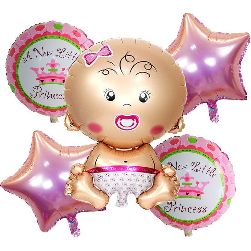 5pcs/lot baby shower foil Balloons Birthday Party Decorations air balls Girl Boy
