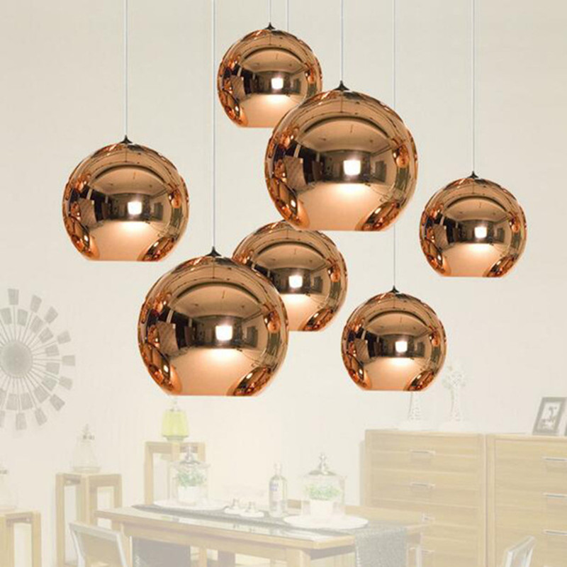Modern Restaurant Tom Dixon Pendant Light Creative Electroplated Glass Dining Living Room Led Hanging Lights Free Shipping free shipping modern glass pendant lamp 3 lights creative dining room experimental bottle hanging light fixture pl057