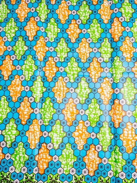 African Patterns Super Deluxe Wax Blue Green Orange Geometric Gorgeous African Patterns