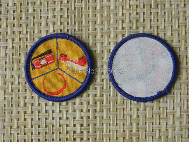 Custom brand /paper backing  woven label patches /overlock patches/merrow border patches 200pcs lot-in Badges from Home & Garden    3
