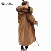 Corduroy Outerwear Winter Jacket Woman 2018 Big Fur Hooded Military Parka Loose Plus Size Cotton Padded
