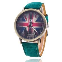 Novo Design Retro REINO UNIDO Relógio Bandeira mulheres homens de Couro Sintético Unisex Relógio De Quartzo Analógico Moda relógios de pulso 2016 venda Quente
