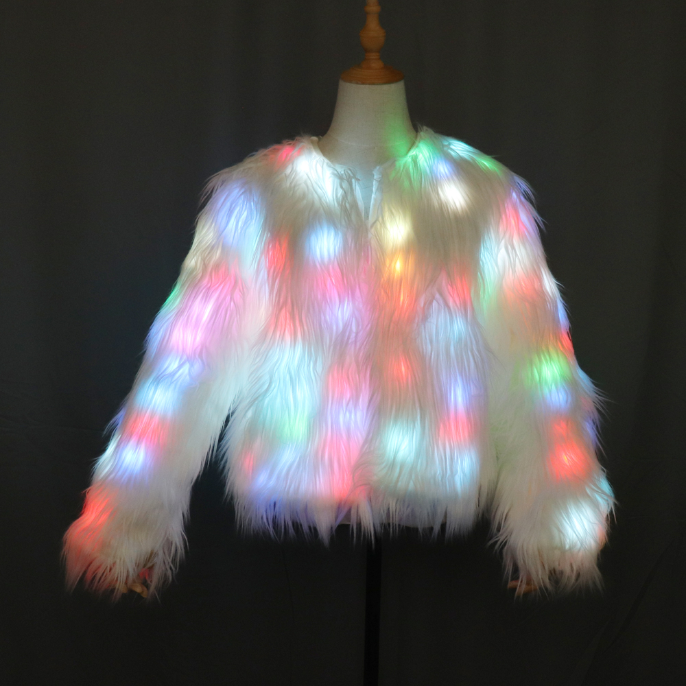 Led Light Shining Faux Fur Coat Decorative Overcoat Dance Christmas Party Jacket For Dancer Singer Star Nightclub