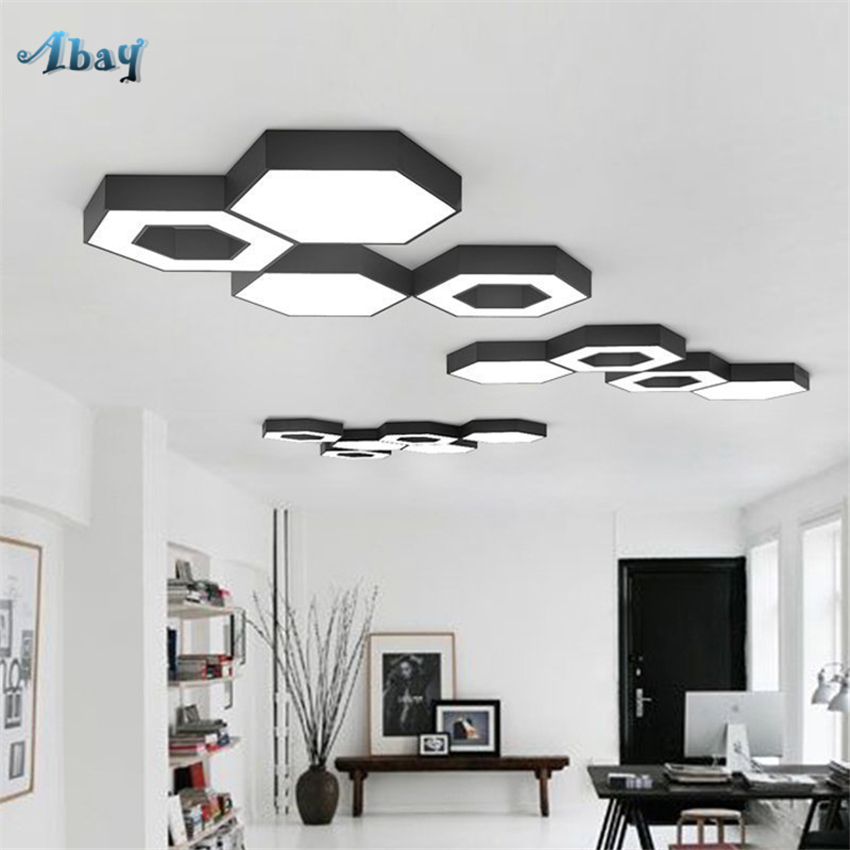 US $71.4 30% OFF|Nordic Bedroom Honeycomb LED Ceiling Lights Modern Living  Room Lamps Combination Geometry Study Bathroom Decor Table Fixture-in ...