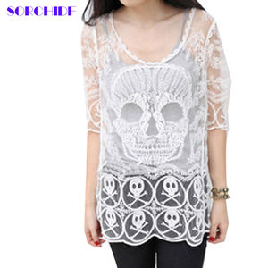 9adca58da4376 sorchidf Lace Embroidery Sexy Knit Blouse Women Clothing