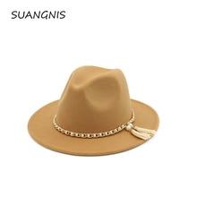 2019 Woolen Felt Hat Panama Jazz Fedoras hats Tassel pearl vintage cap Formal Pa
